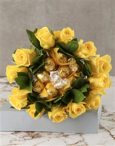 flowers: Yellow Rosy Chocolate Arrangement!