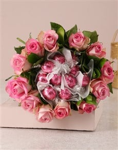 flowers: Pink Rosy Chocolate Arrangement!