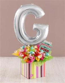 flowers: Your Birthday G Balloon Edible Arrangement!