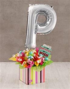 flowers: Your Birthday P Balloon Edible Arrangement!
