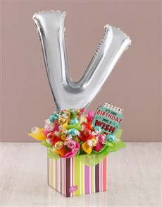 flowers: Your Birthday V Balloon Edible Arrangement!