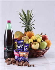 gifts: Fruit with Cadbury and Sparkling Juice!