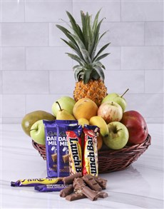 gifts: Fresh Fruit and Cadbury Chocolate Basket!