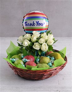 gifts: Thank You Rose and Fruit Basket!