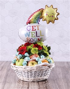 gifts: Feel Better Gerbera and Fruit Basket!
