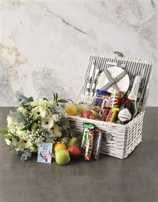 flowers: Special to Me Fruit Picnic Basket and Bouquet!