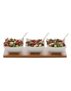 Picture of Maxwell & Williams White Basics Bamboo Salsa Set!