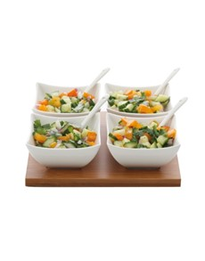 brand: Maxwell & Williams White Large Bamboo Salsa Set!