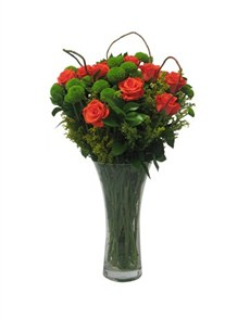 flowers: Orange Roses and Chrysanths in a Vase!