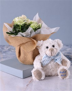 flowers: It's a Boy Teddy and White Rose Bush!