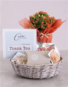 flowers: Thank You Kalanchoe and Snacks Basket!