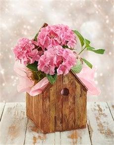 plants: Festive Pink Hydrangea Arrangement in Kennel Vase !