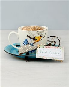 flowers: Turquoise Design Teacup Bird Feeder!