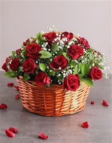 flowers: Red Rose Basket Assorted!