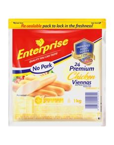 groceries: ENTERPRISE VIENNAS 1KG, NO PORK!