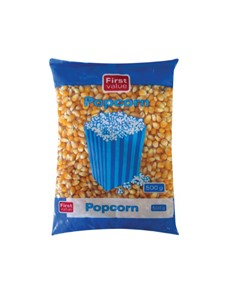 groceries: FIRST VALUE POPCORN 500G!