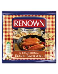 groceries: RENOWN BANGERS 375G, PORK!