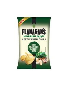 groceries: FLANAGANS CHIPS 125G, CHEESY PESTO!