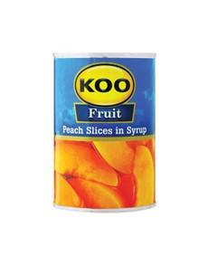 groceries: KOO PEACH SLICES 410G!