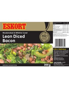 groceries: ESKORT LEAN DICED BACON 200G!