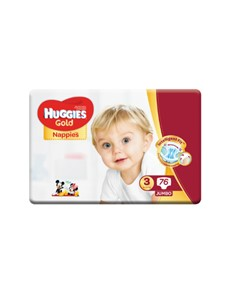groceries: HUGGIES UNISEX GOLD NAPPIES, SIZE 3 76S!