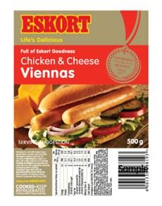 groceries: ESKORT CHICKEN & CHEESE VIENNAS 500G!