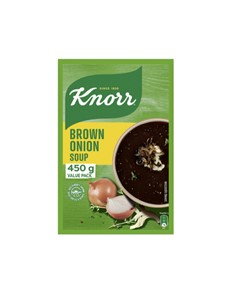 groceries: KNORR SOUP 450G, BRWN ONION!