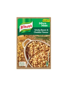 groceries: Knorr Mince Mate 230, Smky Bacon&Cheddar!