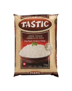 groceries: Tastic Parboiled Rice 2Kg, Quick Cooking!