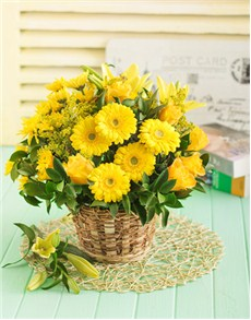 gifts: Basket of Yellow Lilies Roses and Chrysanths!