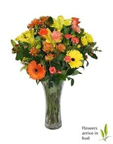 flowers: Vase of Orange and Yellow Seasonal Flowers!