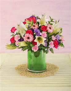 flowers: Pink and Mauve Flower Arrangement!