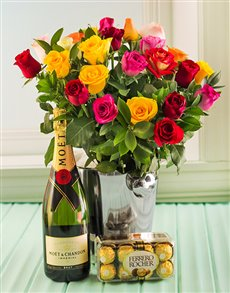 gifts: Mixed Roses, Moet, Ice bucket and Chocs !