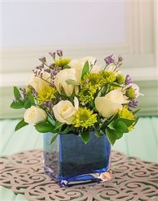 flowers: Small Square Blue Glass Vase with Flowers!