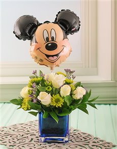 Flowers: Blue Vase of Flowers with Mickey Mouse Balloon !