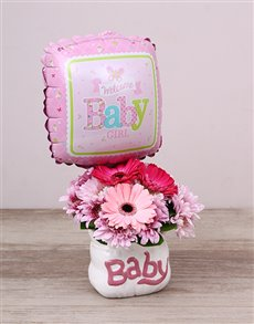 flowers: Baby Girl Ceramic Baby Bag & Balloon!