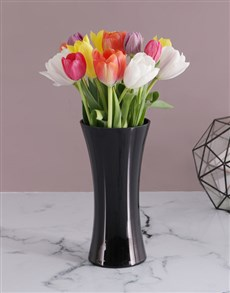 15 Tulips in a Black Flair Vase