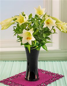 flowers: St Joseph Lilies in a Black Vase!