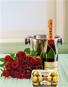 flowers: Red Roses, Moet, Ice Bucket and Chocs!