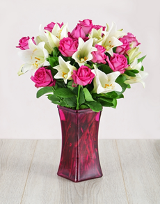 flowers: Roses and Lilies in Pink Flair Vase!