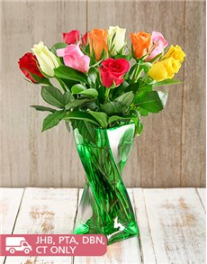 Flowers: Mixed Roses in a Green Twisty Vase!