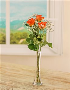 flowers: 3 Orange Roses in a Glass Vase!