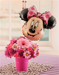 Flowers: Mixed Pink Daisies Bucket with Minny Mouse Balloon!