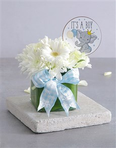 gifts: Baby Boy Square Vase!