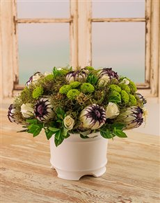 flowers: Green & White Protea Arrangement!