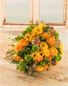 flowers: Bright Yellow Bouquet with Protea's!