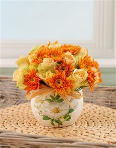 flowers: Orange and Cream Arrangement!