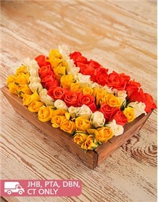 flowers: Yellow, Cream & Orange Roses in a Wooden Crate!