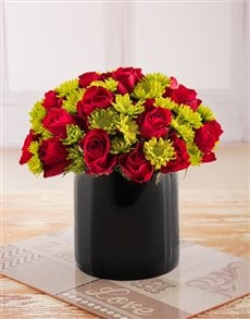 flowers: Red Roses and Sprays in Black Cylinder Vase!