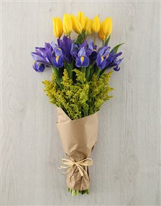 flowers: Tulip and Iris Bouquet!